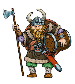 Viking with ax. Medieval robber. Comic drawing.