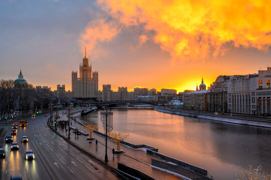 Kotelnicheskaya Embankment Building and Moscow river in Moscow, Russia. Architecture and landmark of Moscow. Sunrise cityscape of Moscow