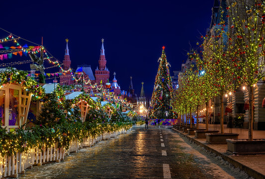 Moscow Kremlin and Red Square with the New Year and Christmas decorations in Moscow, Russia.