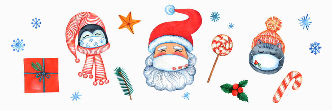 Cartoon faces in mask set. Christmas cute illustration. Santa, polar beer, deer, snowman, winter holiday