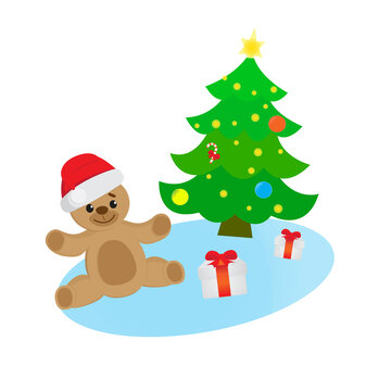 Christmas greeting card with smiling Teddy Bear wearing Christmas hat, decorated Christmas tree and gift boxes. Vector illustration.