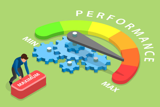 3D Isometric Flat Vector Conceptual Illustration of Efficient Performance Management System, Increasing Efficiency Level.
