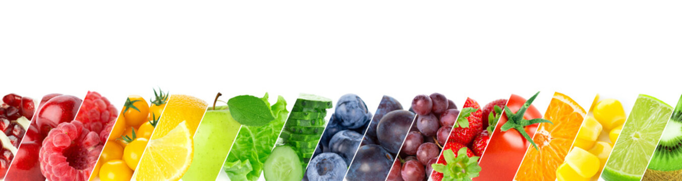 Fruits and vegetables. Collage of fresh fruits, vegetables and berries on white background. Rainbow food