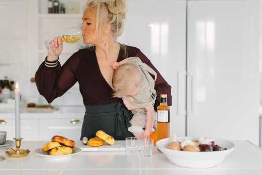 Mother with baby at home, Sweden