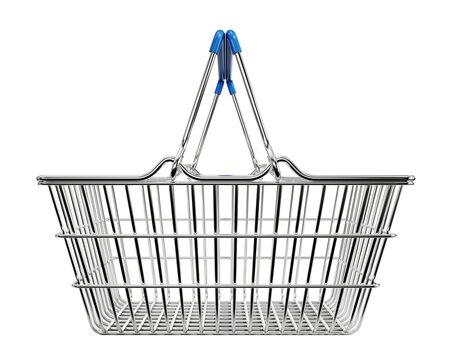 Wire shopping basket isolated white background