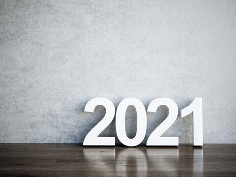 2021 text empty room interior concept