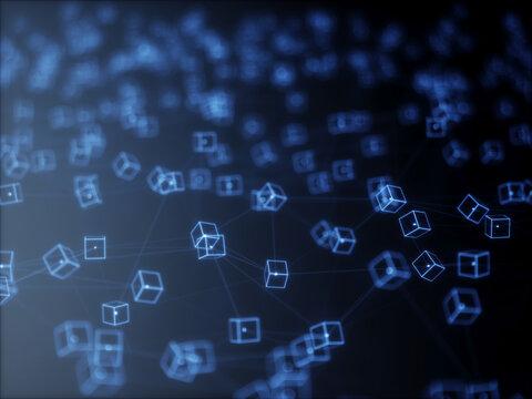 Big data node base concept glow effect