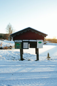 Mail boxes at winter, Sweden