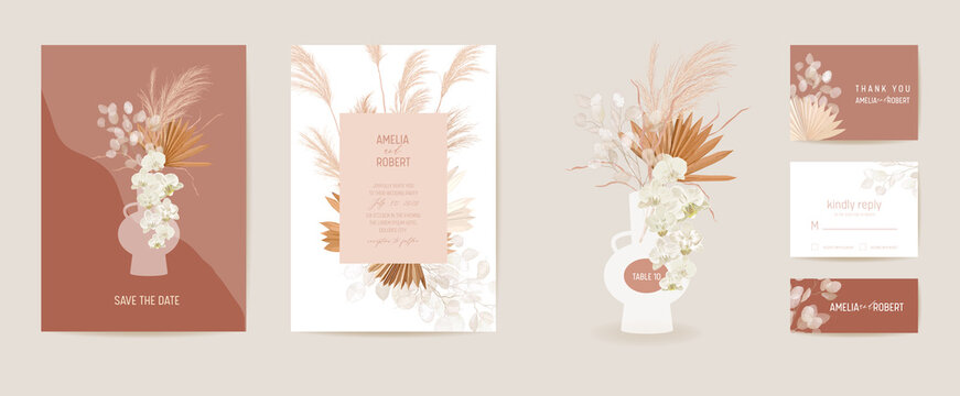 Wedding dried lunaria, orchid, pampas grass floral Card. Vector Exotic dried flowers, palm leaves boho invitation
