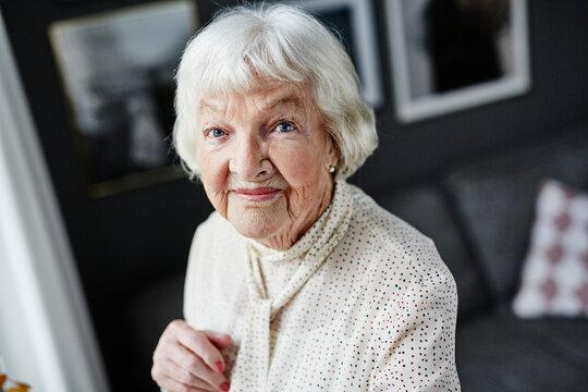 Senior woman looking at camera, Sweden
