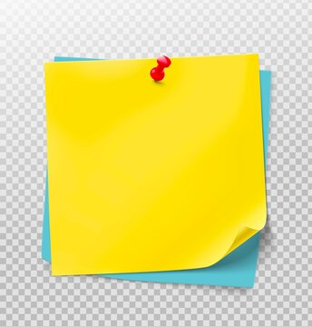 Yellow stick paper notes on white background. Vector illustration. Can be use for your design, presentation, promo, adv. EPS10.