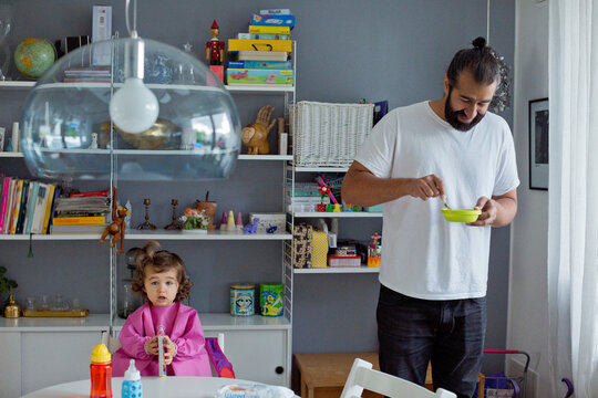 Father with daughter at home, Sweden