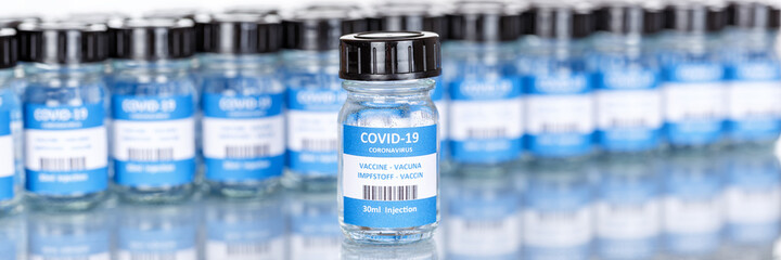 Coronavirus Vaccine bottle Corona Virus COVID-19 Covid vaccines copyspace copy space panoramic view