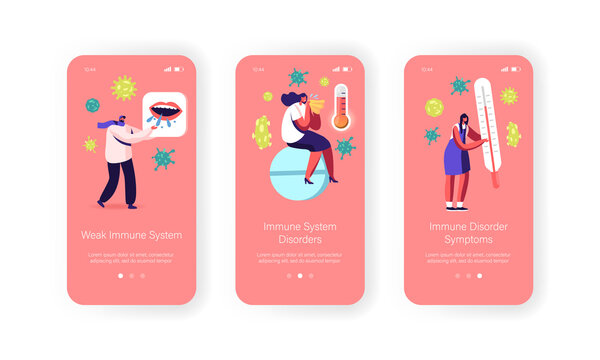 Weak Immune System Mobile App Page Onboard Screen Template. Tiny Male Female Characters Boost Immunity, Protect of Germs