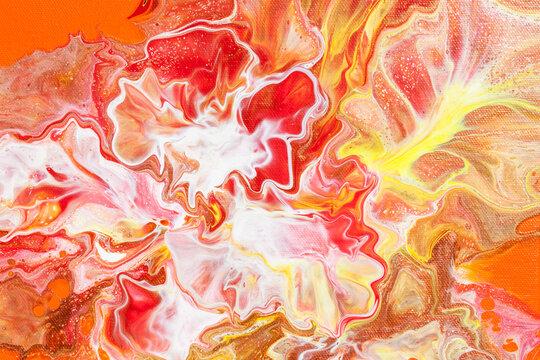 Orange fluid art abstract background