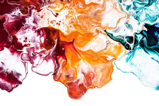 Intricate colorful floral pattern of liquid paint