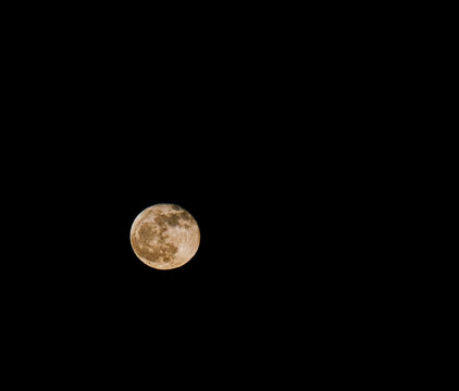 Full Moon in Black Sky with Copy Space