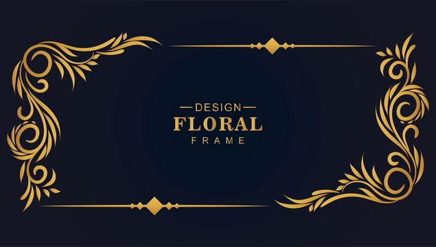 Ornamental golden decorative floral frame background