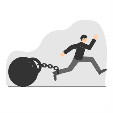 A young man tries to escape with a huge weight on a chain. A symbol of limiting beliefs. Life restrictions. Vector illustration