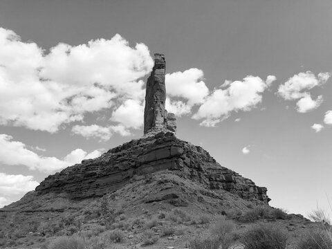 Black And White Landscape Of One Large Thin Vertical Rock Monolith