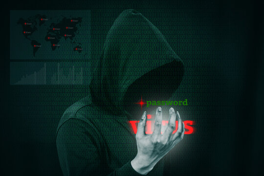 Digital Composite Image Of Male Hacker With Text Against Binary Codes