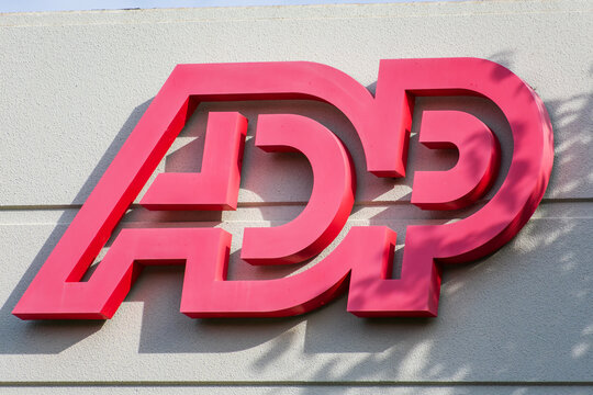 ADP sign, logo on headquarters. Automatic Data Processing Inc.is an American provider of human resources management software and services. - Pleasanton, California, USA - 2020