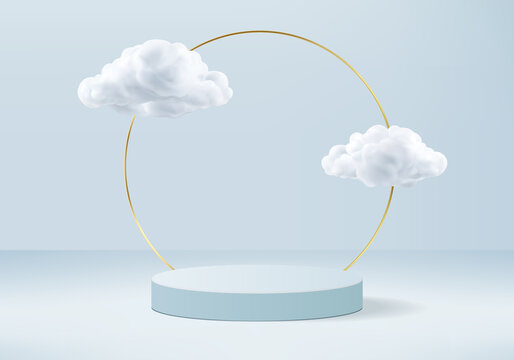 Podium background vector 3d blue rendering with podium and minimal cloud white scene, minimal background 3d rendering geometric shape sky cloud blue pastel. Stage 3d rendering in cloud platform.