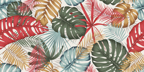 Seamless pattern with colorful leaves, branches and various plants from the tropics and jungle on a light background, composition in trendy contemporary collage style - fototapety na wymiar