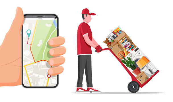 Mover with hand truck and package for transportation and smartphone. Moving to new house. Family relocated to new home. Paper cardboard boxes with various household thing. Flat vector illustration
