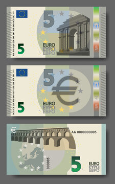 Set of new paper money in the style of the European Union. Gray 5 euro banknote with architectural arches and bridges. EPS10