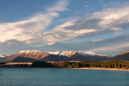 Sunset on lake Tekapo, Canterbury, New Zealand