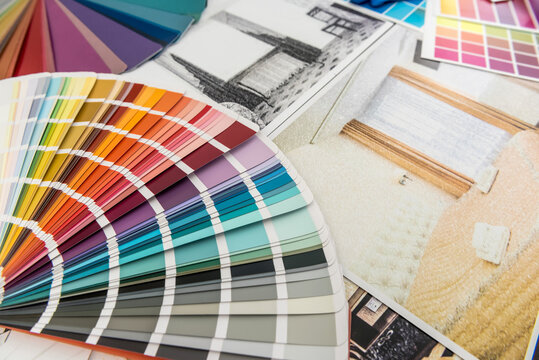 color samples and blueprint as architecture, interior design and renovation concept. Workplace Architect