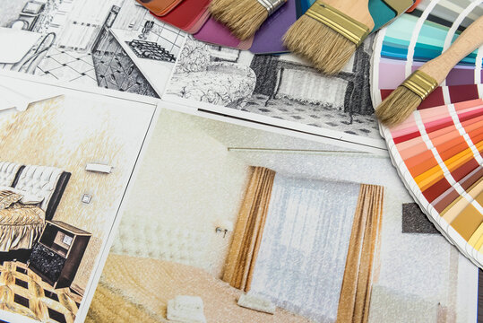 Home design sketch with tools repair and blueprints for renovation. Architectural drawing interior