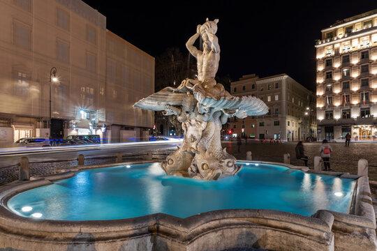 Triton Fountain Is Located In Rome In Piazza Barberini. It Is The Work Of Gian Lorenzo Bernini.