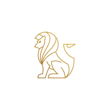 Vector logo of sitting lion hand drawn with thin lines