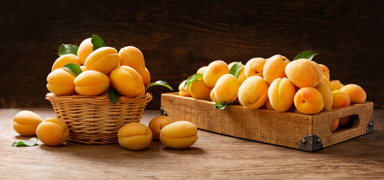 fresh ripe apricots in a basket and wooden box