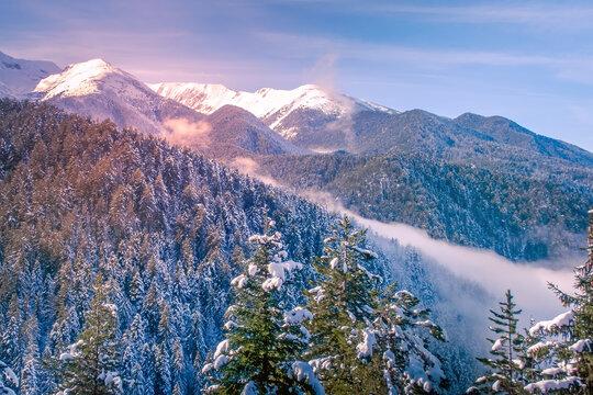 Winter mountains, pink sunset , Pirin, Bulgaria