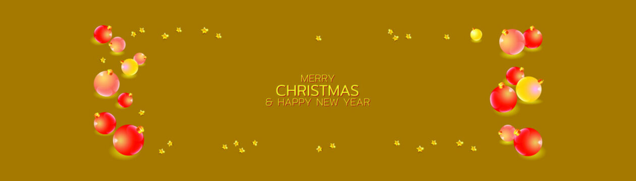 Merry Christmas and Happy New Year illustration. Winter holiday vector illustration. Festive composition with realistic color christmas balls