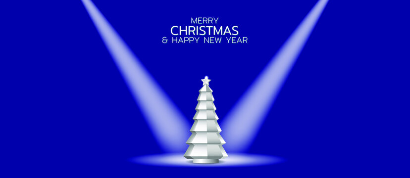 Merry Christmas and Happy New Year illustration. Silver Christmas Tree on the theater stage
