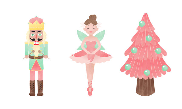Nutcracker, ballerina, and pink Christmas tree. Fairy tale clip art. Watercolor effect vector.