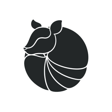 Armadillo rolled up into a ball silhouette icon. Simple flat vector sign, symbol, logo, print art illustration design.