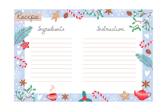 Christmas holiday baking recipe template with ingredients and instructions