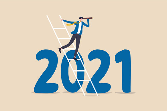 Year 2021 business outlook, vision to see the way forward, forecast, prediction and business success concept, businessman leader using telescope to see vision on top of ladder above year 2021 number.