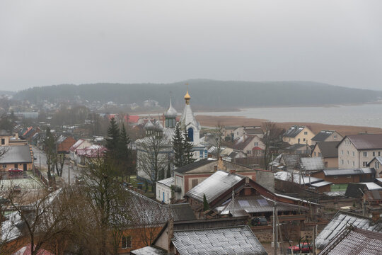 the first snow in the city of Braslav
