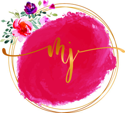MJ M J initial watercolor abstract  logo template vector image.
