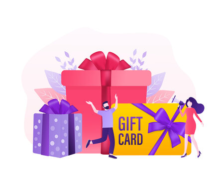 3d advertising with gift voucher presents people for concept design. Sale, discount, special offer concept. Modern gift voucher presents people, great design for any purposes. Vector illustration.