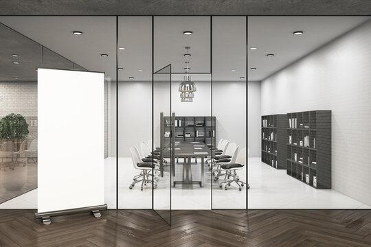 Modern meeting room interior with empty billboard
