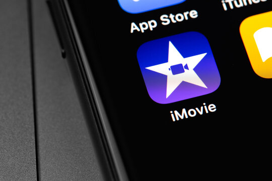 Apple iMovie icon app on the screen iPhone. iMovie is a video editing software application developed by Apple Inc. Moscow, Russia - September 15, 2020