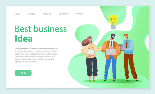 Landing page of business website. Best business idea. Cohesive people stand and discuss creative solutions and ideas on green liquid forms background, conceptual giant light bulb. Co working people