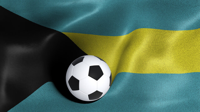3D rendering of the flag of Bahamas with a soccer ball
